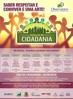 Semana da Cidadania segue até sábado, dia 4, com lançamento de concurso de redação, palestra e ação em praça pública