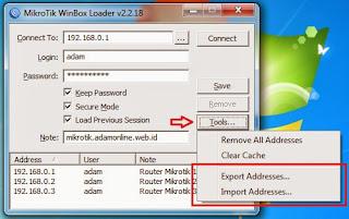 export import winbox Cara Menggunakan Winbox Mikrotik