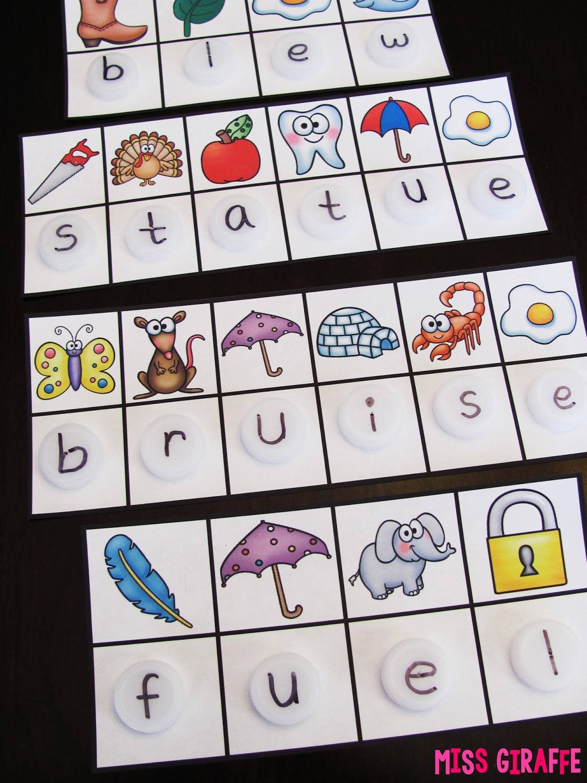 worksheet Ui Phonics Worksheets miss giraffes class ew ue ui activities recycle bottle caps to use with these secret word centers i love phonics activities