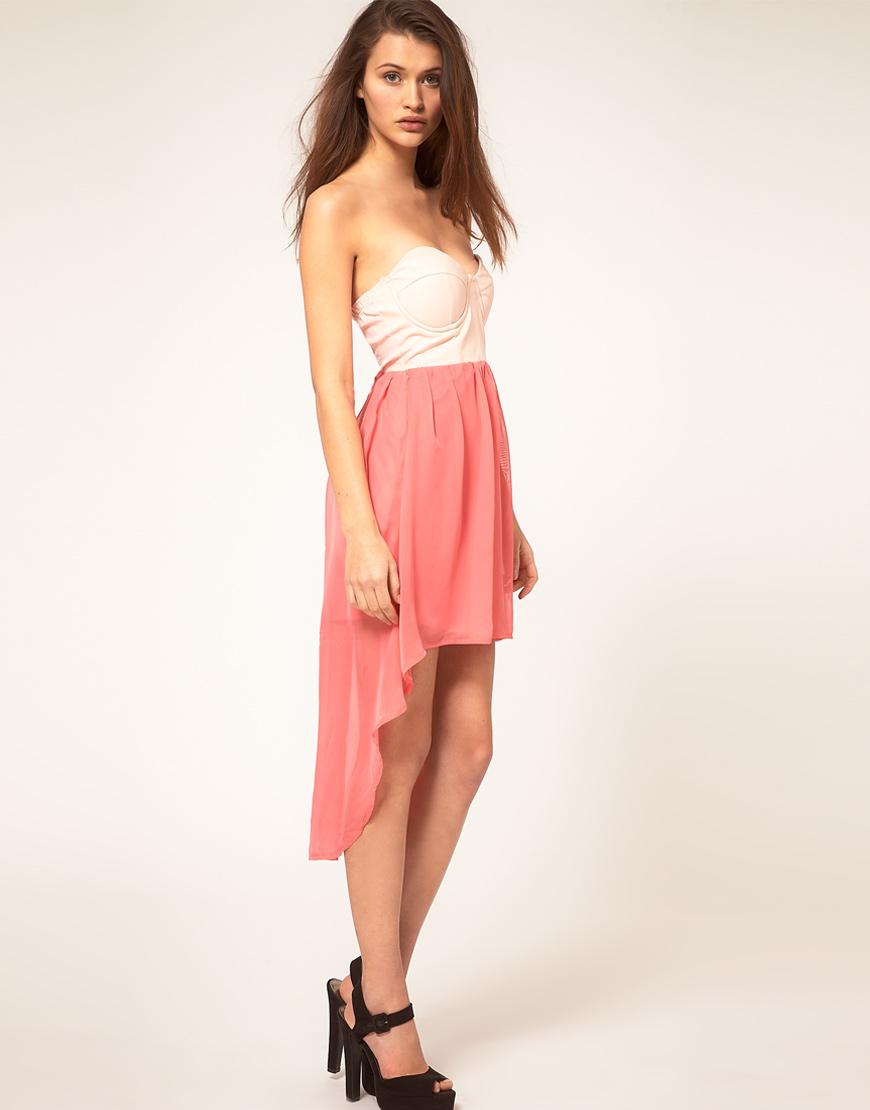 Lush Doodles Reverse Dress with PVC Bustier and Hi Low Hem
