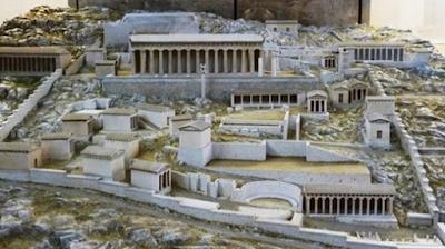 Recreación de la antigua ciudad de Delfos, Grecia