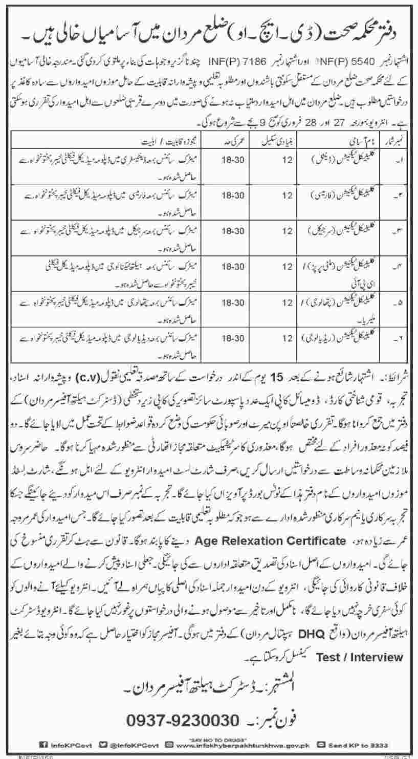 Jobs In Health Department Mardan Jan 2018