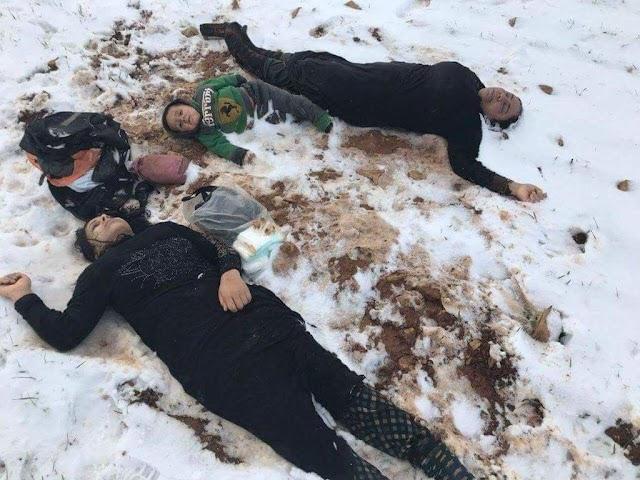 #صور ..وفاة 10 لاجئين سوريين بينهم أطفال بسبب الصقيع