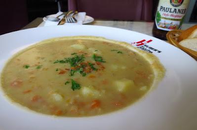 Huber's Bistro, potato soup smoked eel