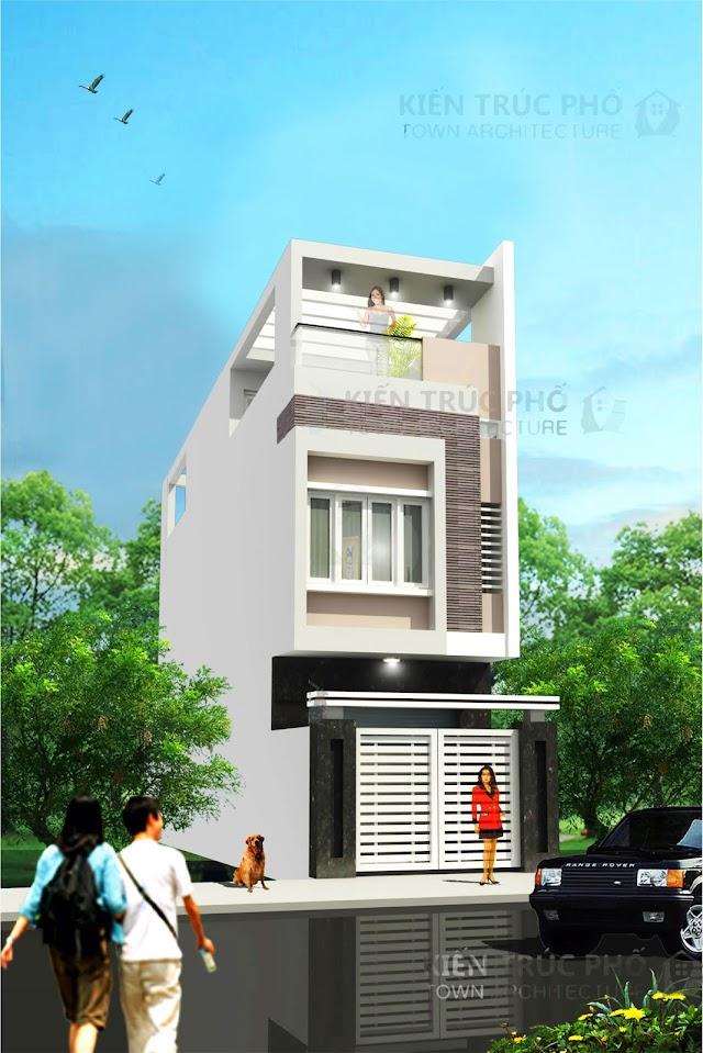 Thiết kế nhà phố 2,5 tầng ở quận 12