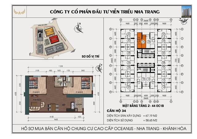 Sơ đồ căn hộ số 34  tòa OC1B Viễn Triều Nha Trang