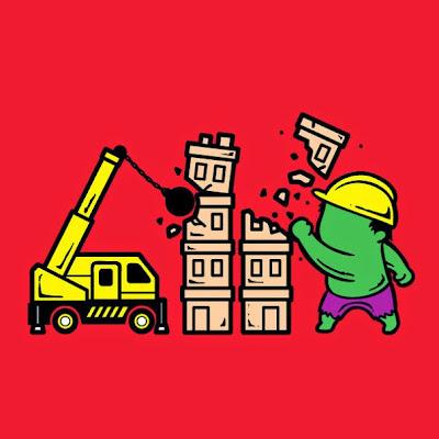 Hulk demoliendo edificios.