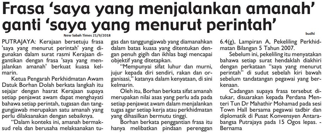 Blog Koleksi Akhbar Pendidikan New Sabah Times Frasa Saya Yang Menjalankan Amanah Ganti Saya Yang Menurut Perintah