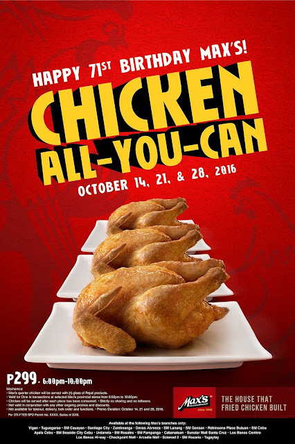 Max's Chicken All You Can 2016 Promo