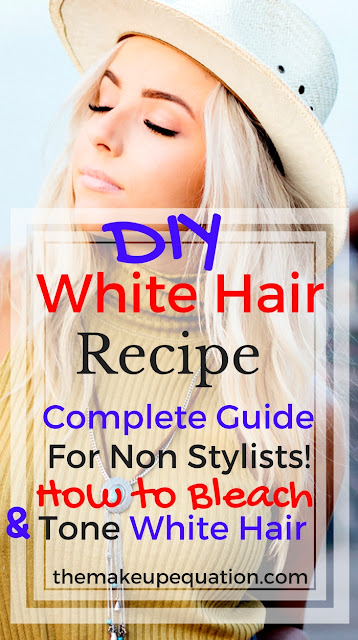 Learn how to bleach and tone hair properly to get white, platinum blonde, silvery hair.  Learn the easy technique for toning blonde and removing brass. Learn the right purple shampoo to use to maintain your color. Stop paying a fortune at the salon, learn how to get white hair today. #whitehair #platinumhair #platinumblonde #purpleshampoo #blondehair
