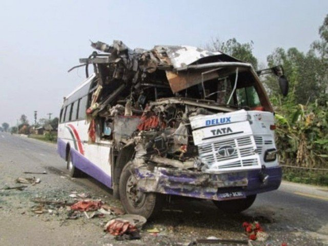 11 feared dead as bus, tanker collide