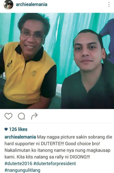 Duterte supporter Archie Alemania bashed for 'insensitive joke' about Mar Roxas