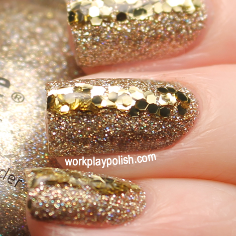 China Glaze I'm not a Lion with a stripe of Milani Jewel FX in Gold