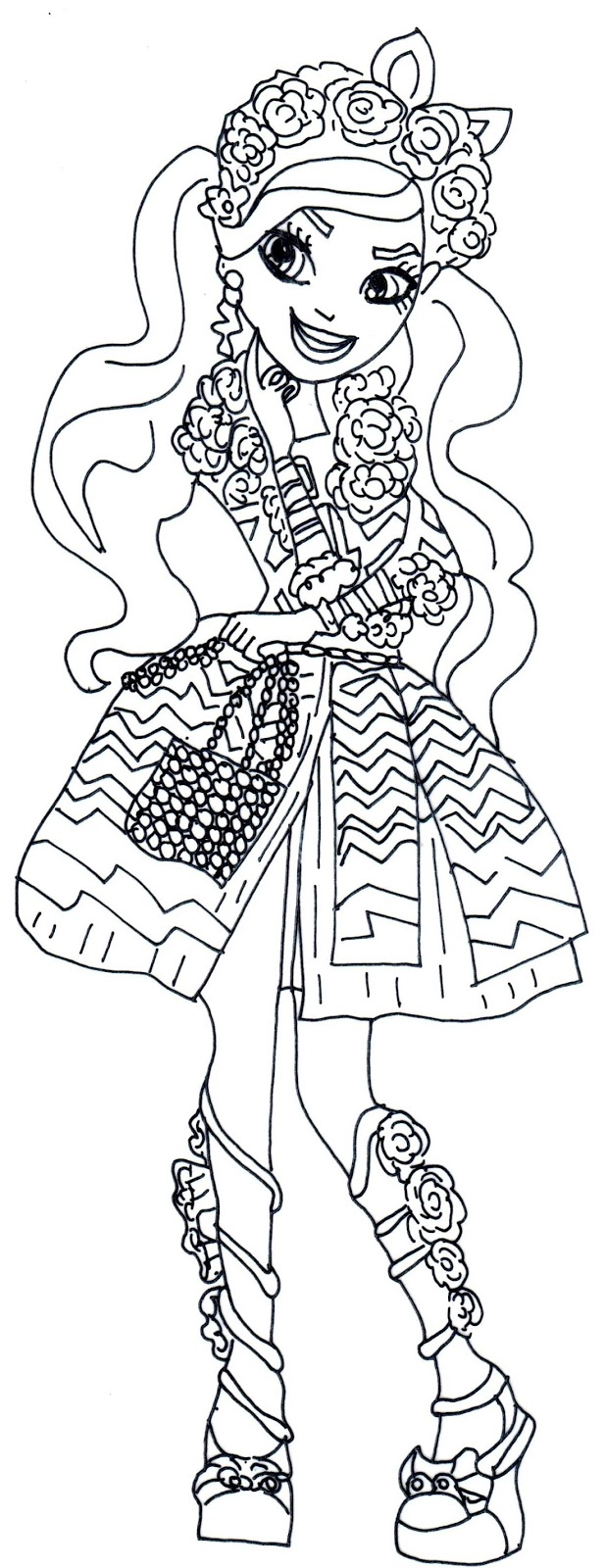free printable ever after high coloring pages kitty