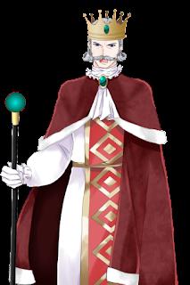 怒っている赤い服を着た王の立ち絵フリー素材