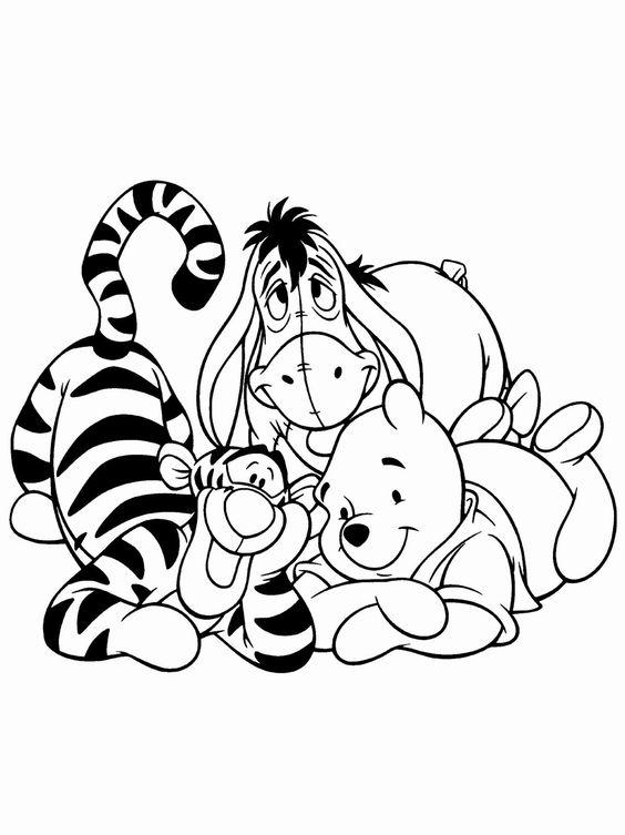 Tranh cho bé tô màu gấu Pooh 05