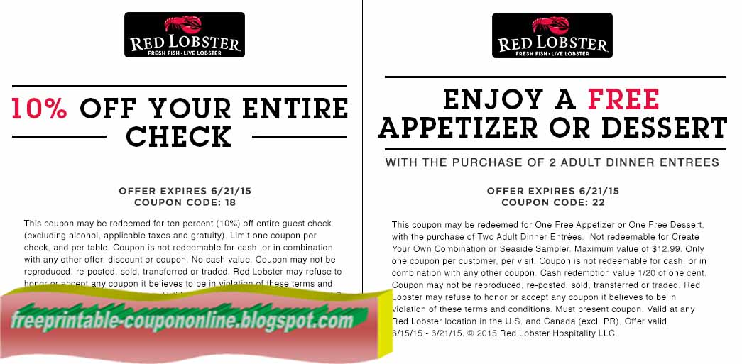 Red lobster coupons printable november 2018
