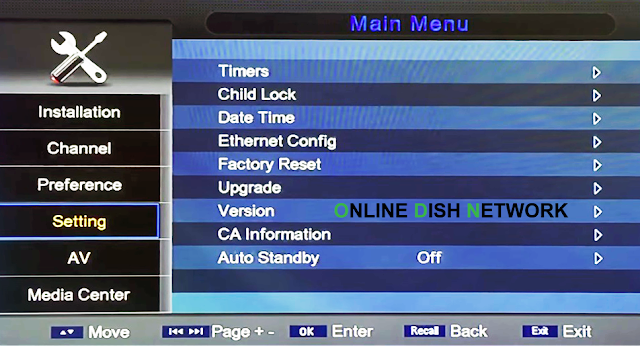 echqlink 777 HD Receiver setting menu