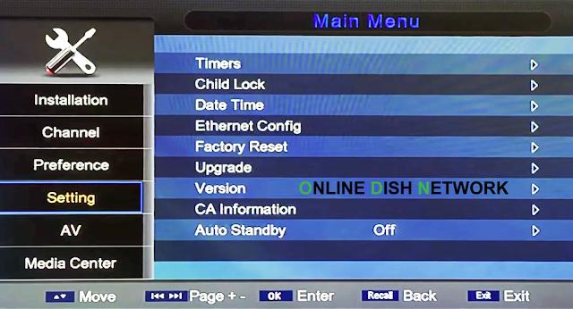 echqlink 777 HD Receiver setting menu