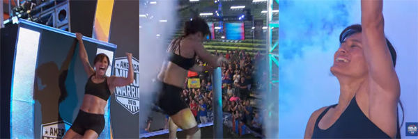 series of images of Sandy Zimmerman defeating the Warped Wall, hitting the buzzer, and celebrating