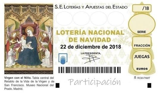 participación, décimo Navidad, 2018, imprimir, lotería, regala lotería