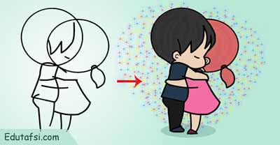 Tutorial menggambar kartun chibi couple step by step