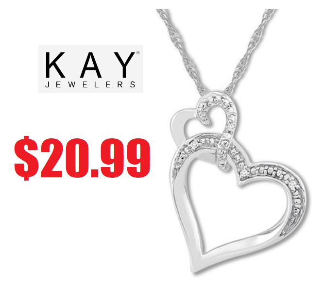 c63749685 Kay Jewelers Diamond Heart Necklace Sterling Silver $20.99 (Reg $69) + Free  2 Day Shipping