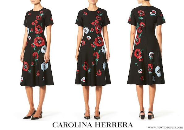 Queen Letizia wore Carolina Herrera black poppy-print knit skirt