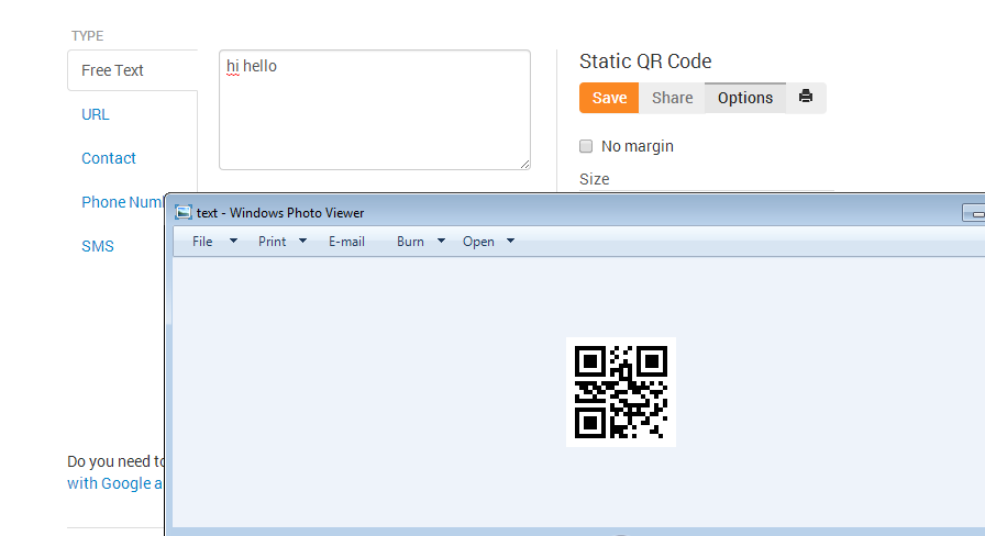 How to Generate QR code for your Site, Text Sms and Contact