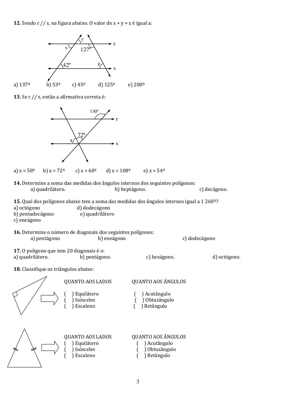 Lista De Exercicios 8o Ano Angulos Atividades De Matematica
