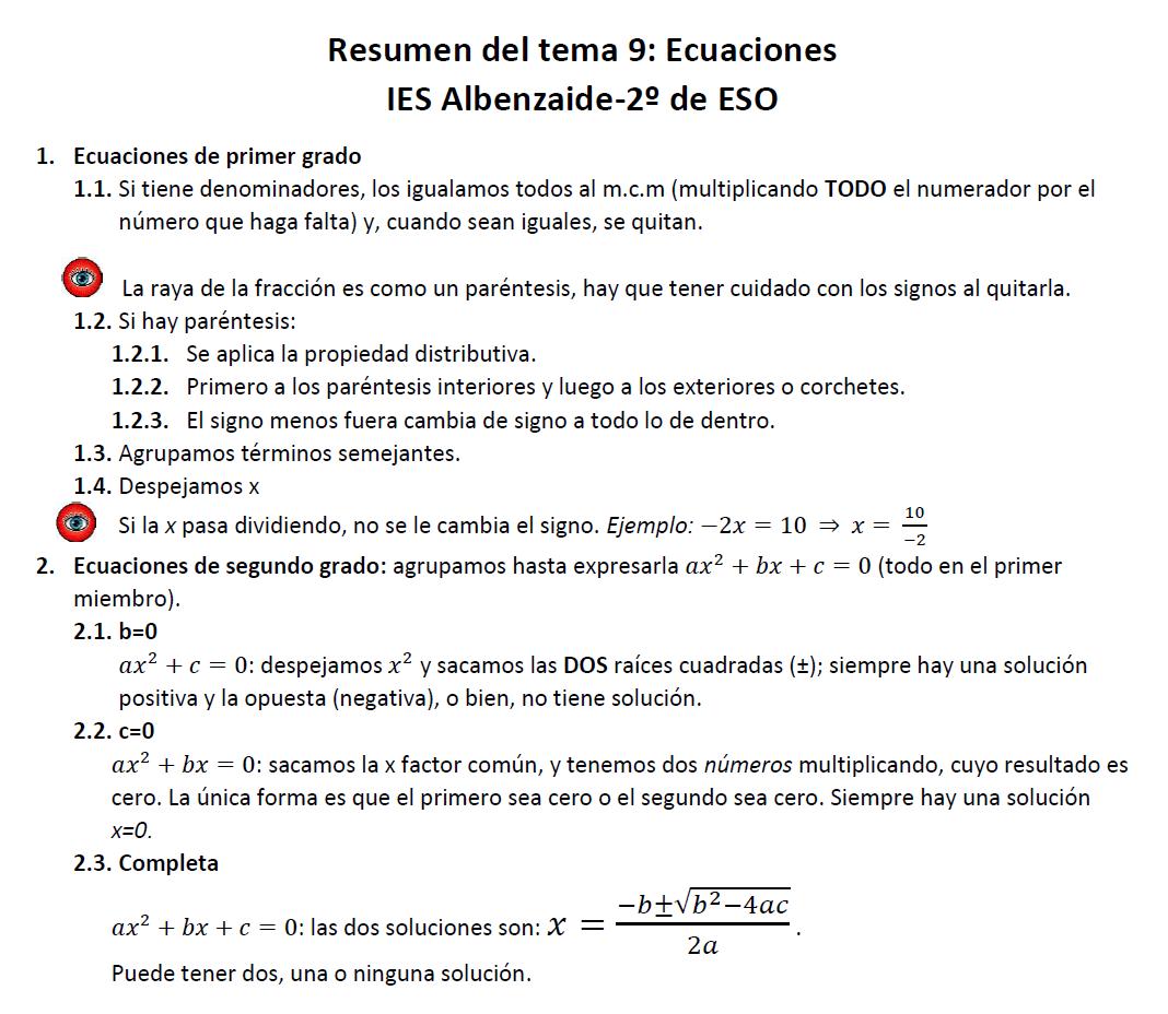 apuntes de matemáticas para ESO y Bachillerato: Resumen del tema 9 ...