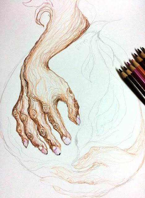 Artwork in progress by Lila Marquez (colored pencils on paper, 2017)