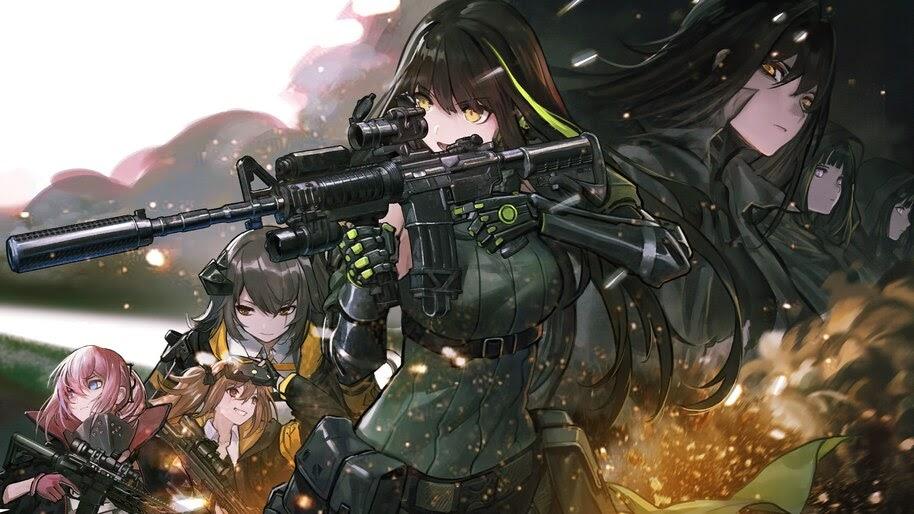 Anime, Girls Frontline, Guns, Rifle, M4A1, UMP45, UMP9, 4K, #6.1072