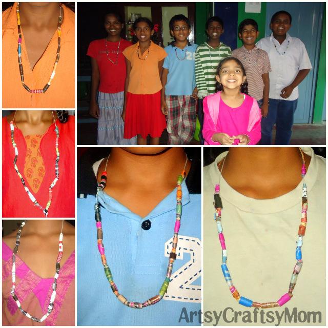 AnandVidyalaya Paper bead necklace