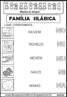 Famílias silábicas alfabetização letra N