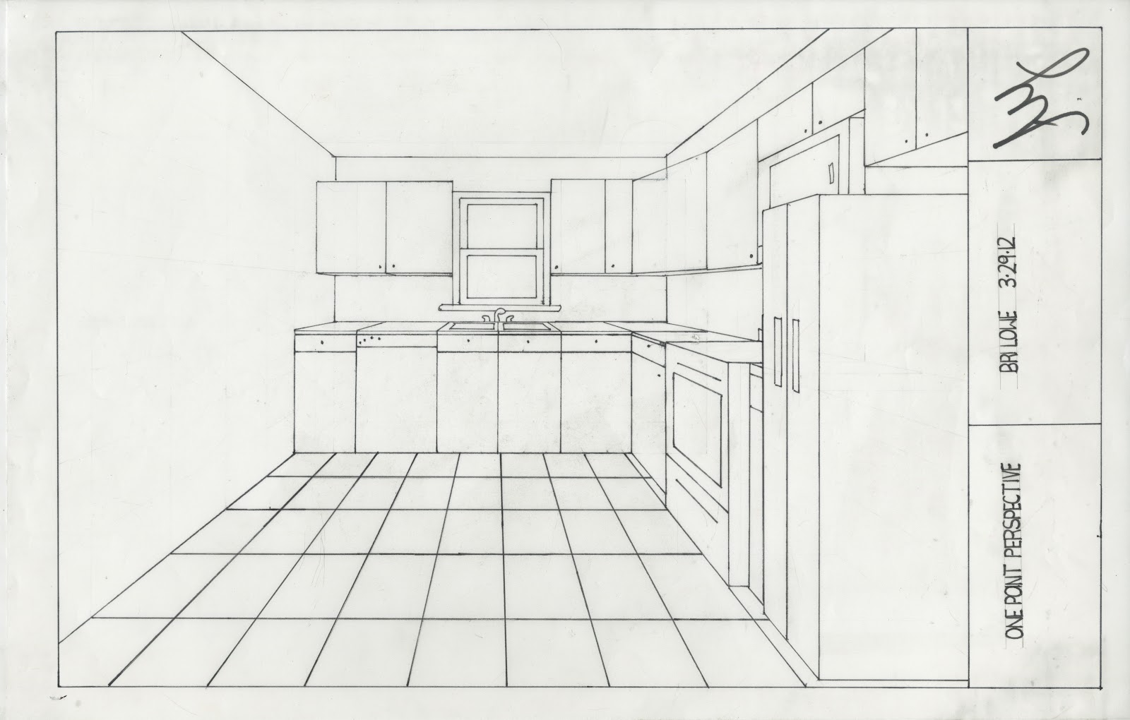 Perspective Room Drawing 1 Point Perspective Kitchen Auto