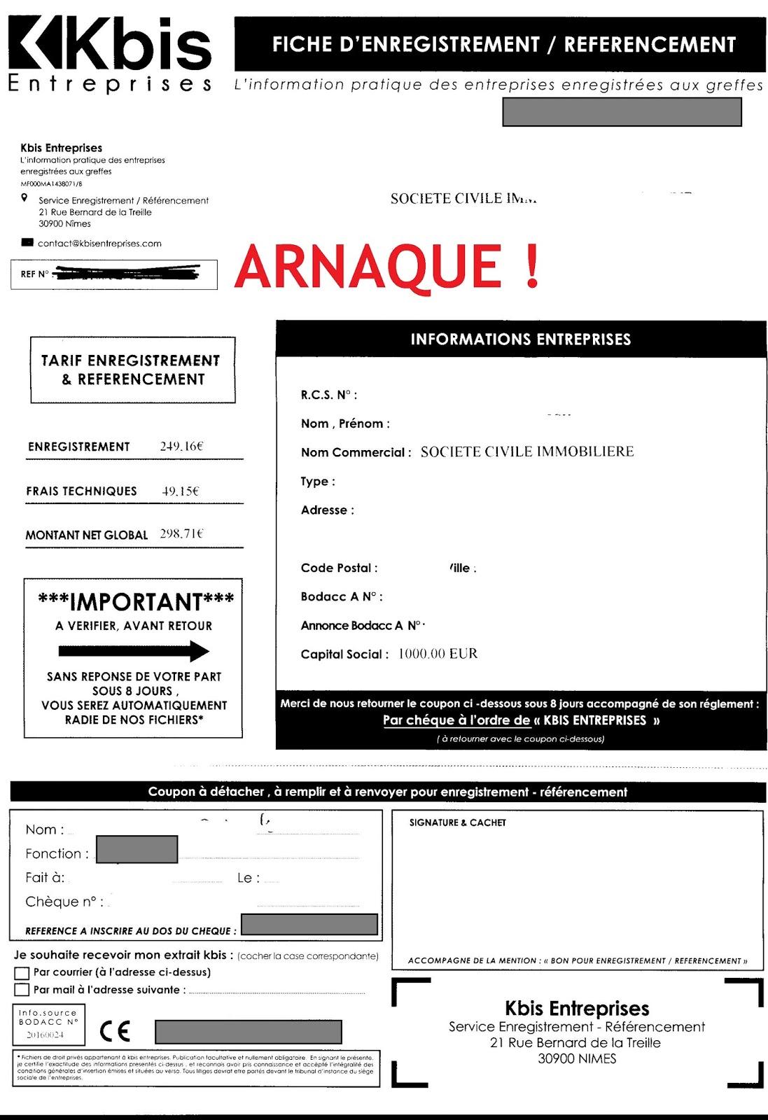 Arnaques entrepreneurs kbis entreprises for Idee auto entrepreneur 2016
