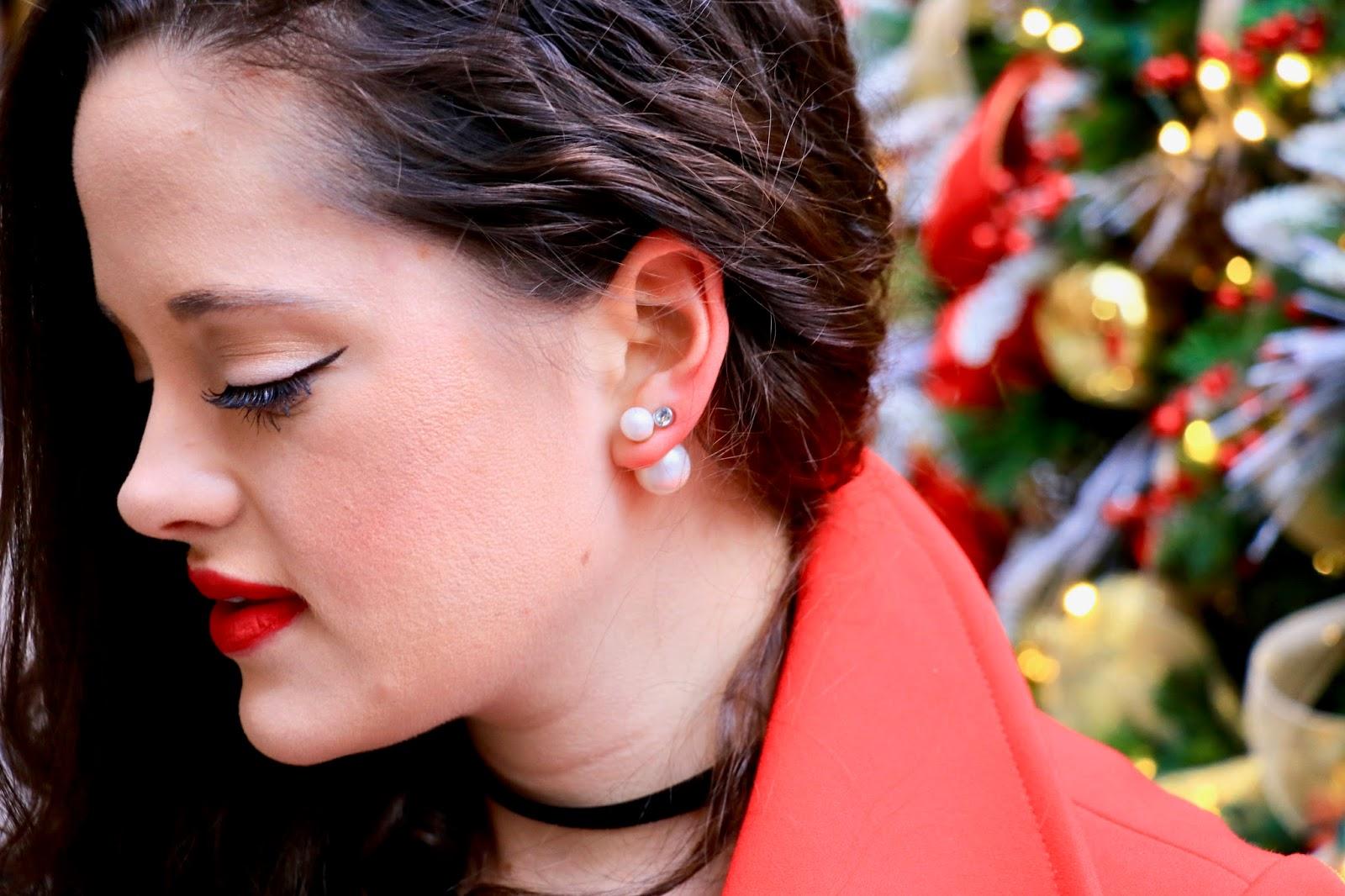 double pearl back earrings