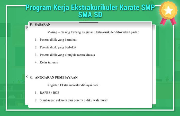Program Kerja Ekstrakurikuler Karate SMP SMA SD