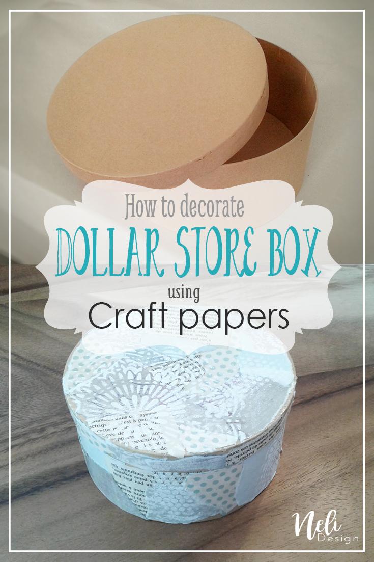 dollar store box, crafts, paper box, decorate, stencils paint Pinterest