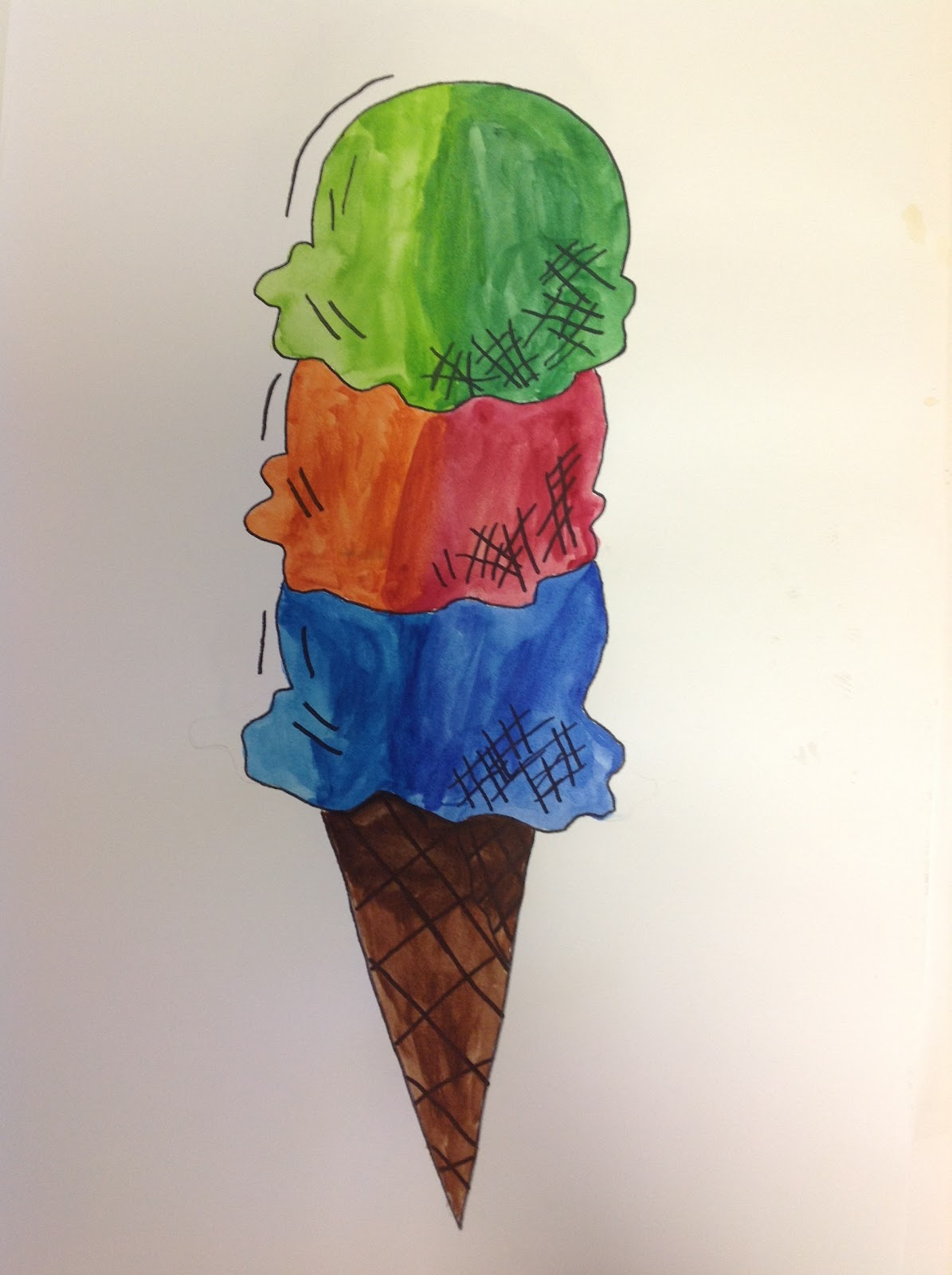 We Used Analogous Colors To Shade The Scoops Along With A Little Hatching And Cross Resemble Pen Ink Drawing