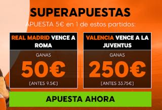 888sport superapuestas victoria Real Madrid o Valencia champions 27 noviembre