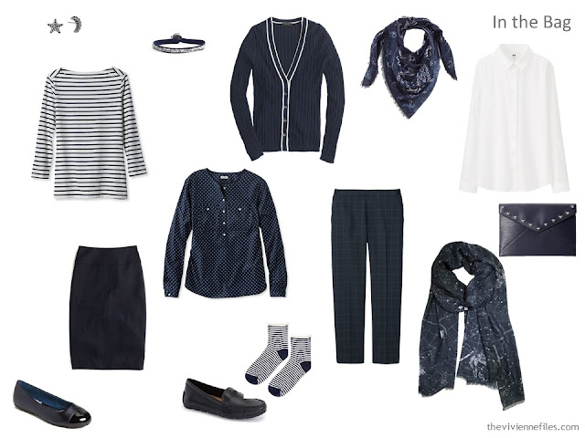 navy and white 6-Pack travel capsule wardrobe
