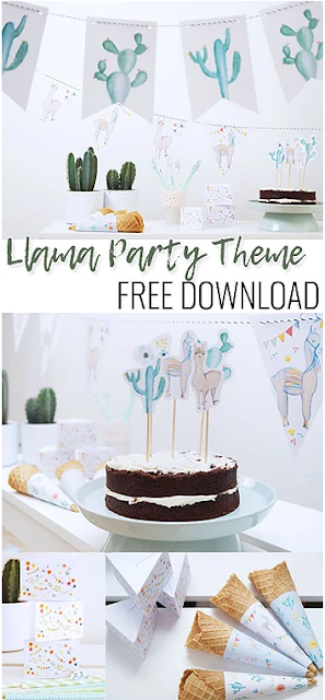 free llama party printables