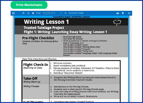 Writing lesson worksheets
