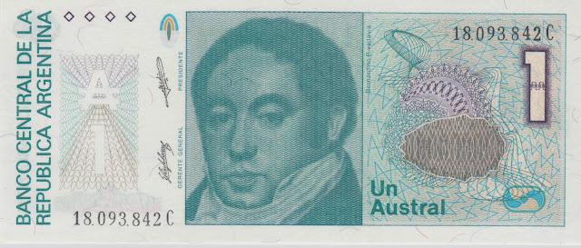 Argentina Banknotes 1 Austral banknote 1989 Bernardino Rivadavia First President of Argentina