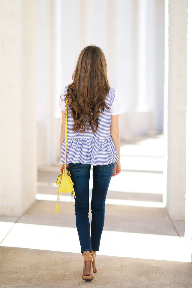 Striped ruffle back tee