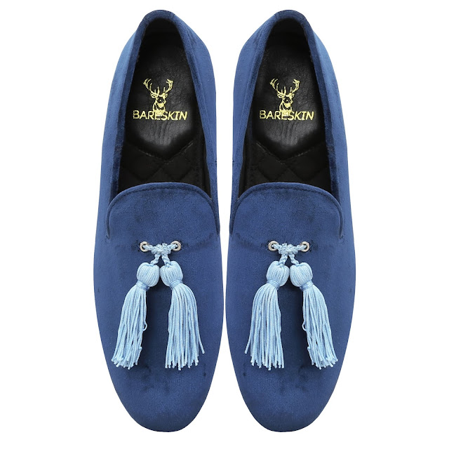 BLUE VELVET SLIP-ON SHOES WITH     STYLISH TASSEL BY BARESKIN