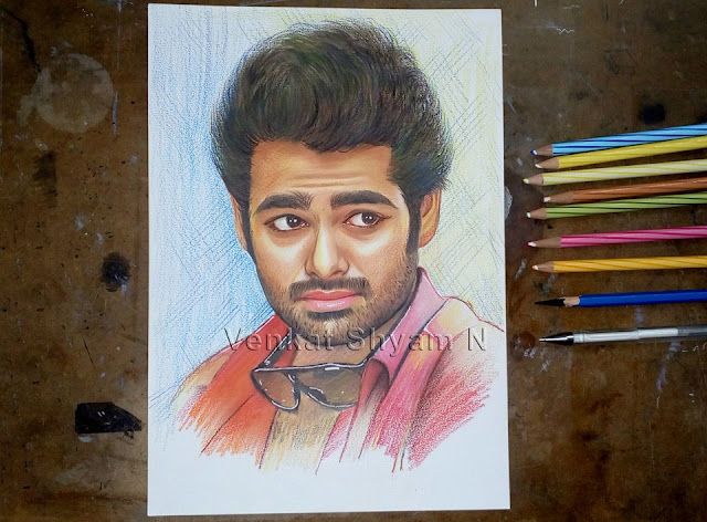 Ram Pothineni Colour Pencil Drawing Portrait in Hyderabad Telangana INDIA