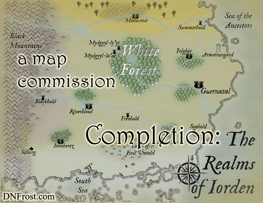 Completion of Iorden, a map commission by D.N.Frost for The Once and Future Nerd http://www.dnfrost.com/2016/10/completion-of-iorden-map-commission.html Part 5 of a series.